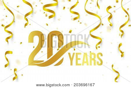 Isolated golden color number 20 with word years icon on white background with falling gold confetti and ribbons, 20th birthday anniversary greeting logo, card element, vector illustration.