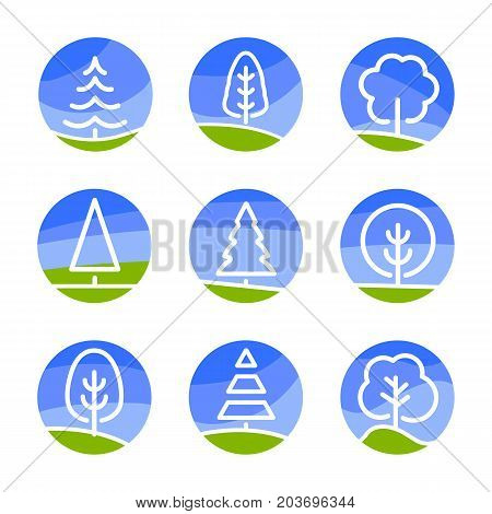Nature abstract logo. Isolated white color trees on blue sky background and green field in lineart style set, forest, park and garden flat circle signs collection