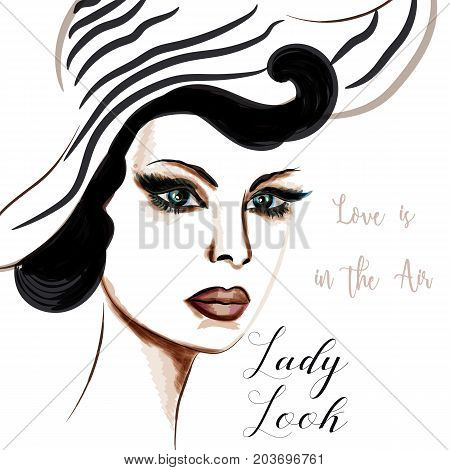 Elegant fashion illustration with beautiful lady in hat