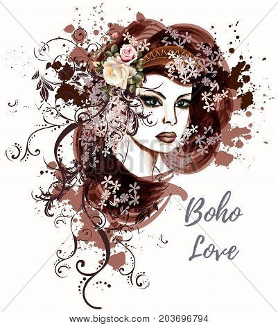 Fashion illustration with young woman sketch in boho style with roses
