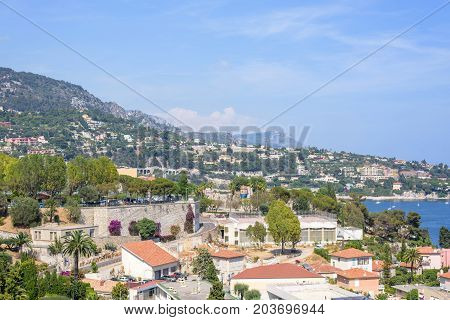 Beautiful daylight view to Villefranche-sur-Mer city resort in France.