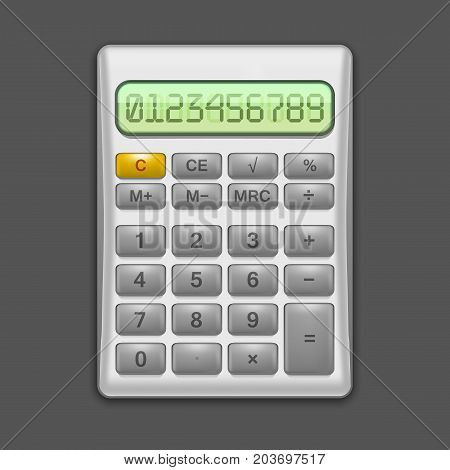 Realistic Electronic Grey Calculator Mathematic Equipment for Education and Office. Finance Device Vector illustration