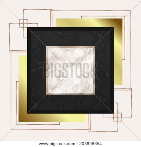 Luxury marble rose gold tile pattern with. Geometric print for your card, template, business, brochure. Trendy poster for textile, fabric, web, wallpaper, poster, home, premium design, floor tile.