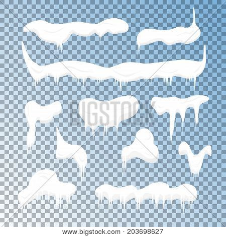 Frost Cold Snow Caps Set Snowy Winter Elements on a Transparent Background for Web. Vector illustration