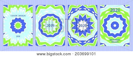 Symmetric, Round Geometric Design Cards. Vector Backgrounds For Restaurant Menu, Flyer, Business Car
