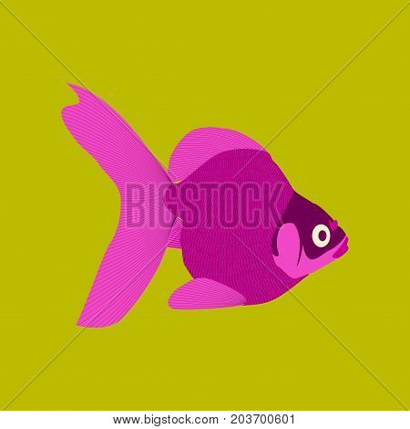 Vector illustration in flat style goldfish wildlife