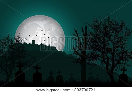 Vector illustration of a graveyard with tombstones and trees in front of a haunted castle on a hill under a green night sky with shining moon and flying bats