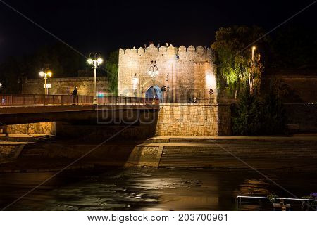 Nis, Serbia - September 8, 2017: Nis Fortress Entrance Across Th