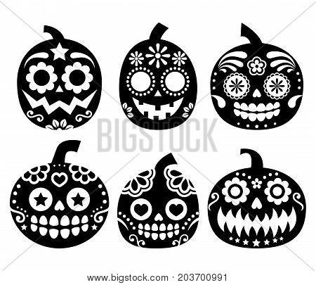 Halloween pumpkin vector desgin - Mexican sugar skull style, Dia de los Muertos decoration