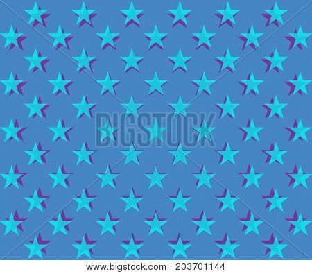 Blue stars pattern with overlapping shadows on a textured light blue background