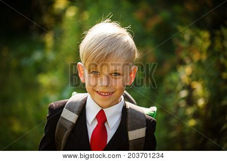 Closeup portrait of smiling pupil.Cute boy going back to school. Child with backpack on first school day
