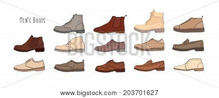 Collection of modern and stylish men s footwear - derbies, oxfords, loafers, moccasins, brogues, desert boots, boat shoes or top-siders isolated on white background. Colored vector illustration.