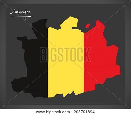 Antwerpen Map Of Belgium With Belgian National Flag Illustration