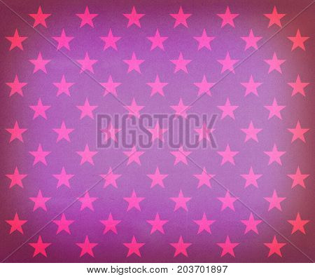 Vintage purple stars pattern wrapping paper on a faded purple background