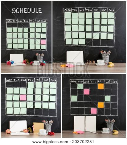 Grid timetable schedule with decoration on black chalkboard background. Valentines Day Christmas concept