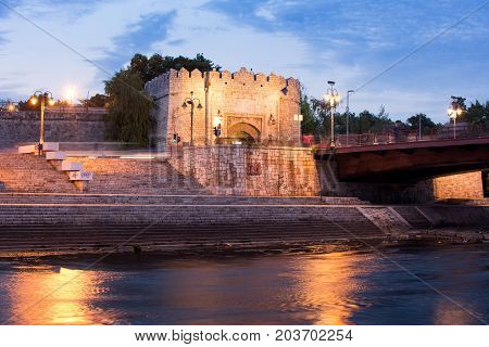 Nis, Serbia - September 8, 2017: Nis Fortress Entrance Across The Bridge On Nisava River