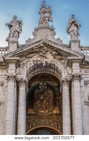 Detail of the Church (Papal basilica) Santa Maria Maggiore the largest basilica in Rome Italy.