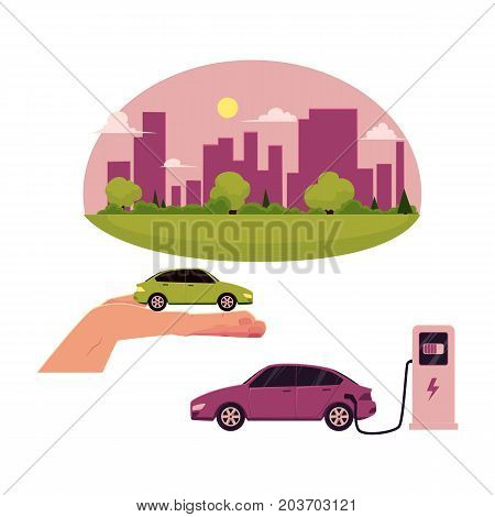 vector flat cartoon green city concept. Isolated illustration on a white background. city without plants and factories electric car at charging station, green vehicle in hand set