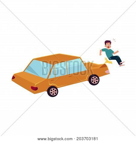 vector flat cartoon pedestrian accident, young man was hit by yellow car, hood dented and human damaged. Isolated illustration on a white backgound. Road safety concept