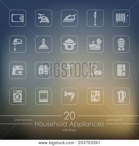 household appliances modern icons for mobile interface on blurred background