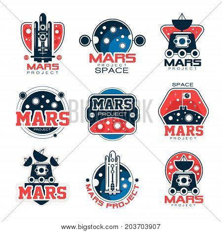 Mars project labels set, Mars colonization program vector Illustrations on a white background