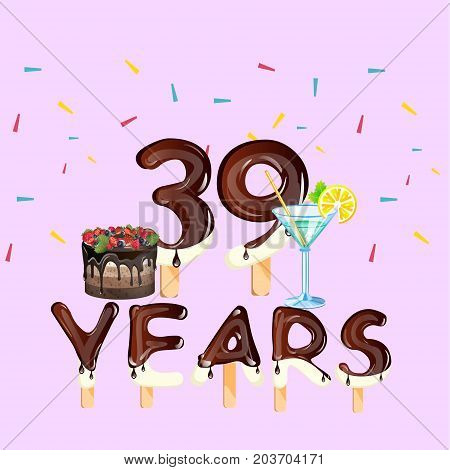 39 years greeting card. Happy Birthday. Vector illustration