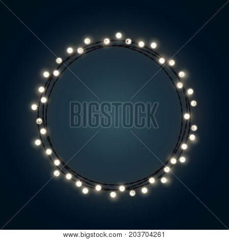 White Christmas incandescent light string wreath on the dark blue background. Vector outdoor patio lights.