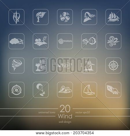 wind modern icons for mobile interface on blurred background