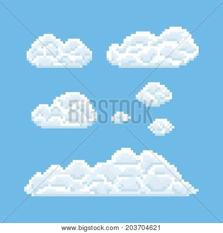 Clouds shapes set. Pixel art 8 bit texture illustration isolated on blue background