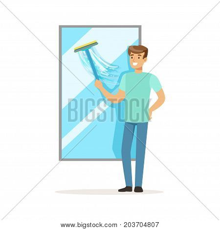 Young smiling man washing window, house husband working at home vector Illustration on a white background