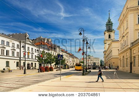 Warsaw, Poland - August 2, 2017: Architecture And People On The Street New World In Warsaw.