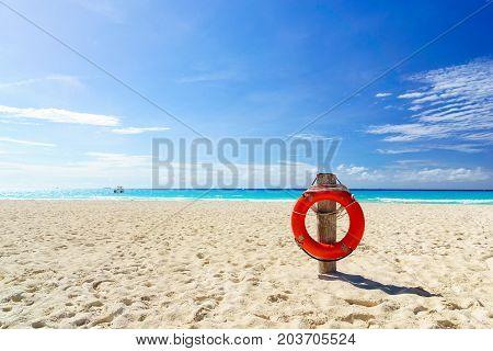 Life buoy on the tropical beach .