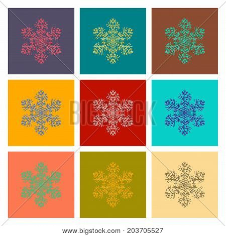 assembly of flat illustration snowflake set collection
