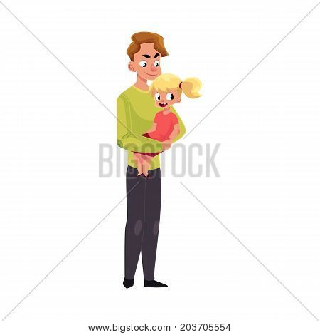 Young handsome father, dad holding little daughter in arms, cartoon vector illustration isolated on white background. Cartoon style portrait of young father holding his little kid, daughter in arms