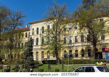 VELIKO TARNOVO, BULGARIA -  APRIL 11, 2017: Spring view of Faculty of Fine Arts at Veliko Tarnovo University, Bulgaria