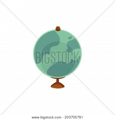 Vector cartoon flat globe illustration isolated on a white background. Flat earth planet with continents, oceans and clouds. Web icon design object. Back to school concept