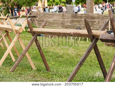 Wooden Barricade With Sharp Ends Closeup Shot