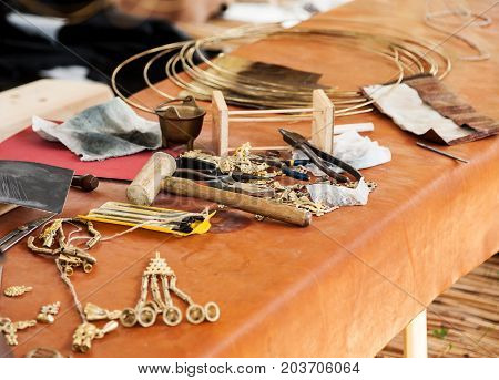 Different Jeweler Tools On A Table, Selective Focus