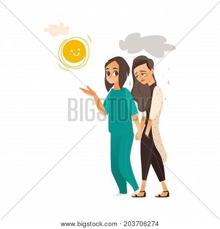 vector flat cartoon doctor showing sun to woman suffering from depression. Unhappy female character with rainy clouds above her. Isolated illustration on a white background. Mental illness concept