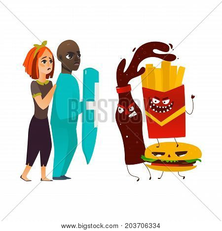 vector flat cartoon male doctor holding shield protecting woman from mental illness - obesity, fighting with angry fastfood. Isolated illustration on a white background
