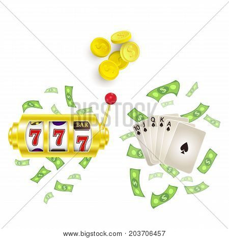 vector flat cartoon lucky triple seven Jackpot golden slot mashine, royal flush spades with dollar rain around, casino chips set. Isolated illustration on a white background. Sign of profit easy money