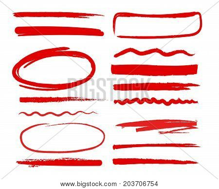 Hand drawn shapes oval, circles and dividers. Scribble red pictures. Vector doodle set