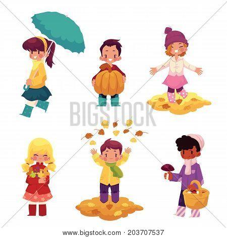 Kids, children having fun in fall, autumn - throwing leaves, picking mushrooms, walking, cartoon vector illustration isolated on white background. Cartoon kids, boys and girls, enjoy autumn, fall