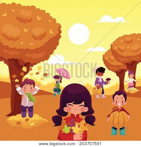 Kids, children having fun in fall, autumn - throwing leaves, picking mushrooms, walking in park, cartoon vector illustration. Cartoon kids enjoy autumn activities, poster, greeting card template