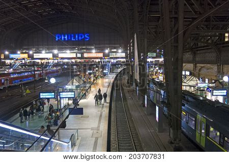 Interior Of Hamburg Central Railway Station. Germany