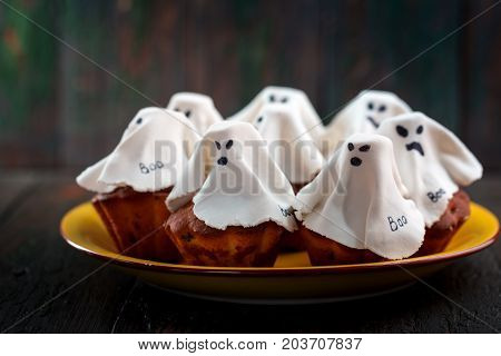 Halloween cupcakes like ghost. Dessert for Halloween
