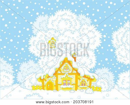 Vector illustration of a small log hut snow-covered on Christmas