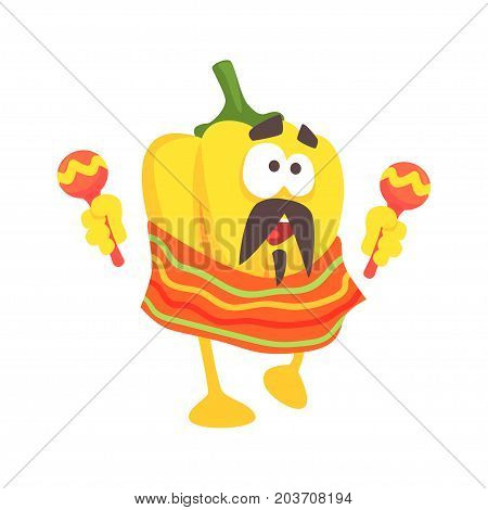 Funny cartoon yellow pepper character wearing poncho shaking maracas, mexican traditional humanized food in traditional clothes playing music vector Illustration on a white background