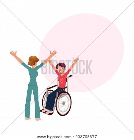 Medical rehabilitation, therapist doing remedial gymnastics with young man in wheelchair, cartoon vector illustration with space for text. Medical rehabilitation, physical therapy, remedial gymnastics