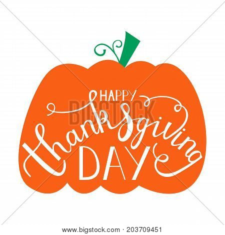 hand drawn thanksgiving lettering greeting phrase happy thanksgiving day on pumpkin
